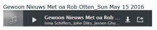 Uitzending 15 mei 2016 met Rob Otten