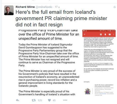 IJsland premier niet afgetreden
